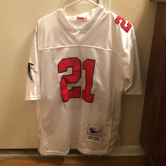 the latest ac69a 22dee Throwback Deion Sanders Falcons jersey
